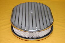 """12"""" Polished Aluminum Oval Finned Breather Cleaner Air Filter Fits Chevy Ford"""