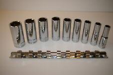 "Signet S12215 3/8"" Dr SAE Deep Socket Set 9 Pc On A Rail Size: 3/8"" - 7/8"" 6pt"