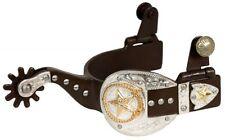Ladies Antique Brown 9 pt Rowel Silver Buckle Gold Star Western Spurs