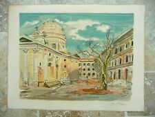 Lithographie Originale Yves Brayer Provence vers 1970 la perle rose