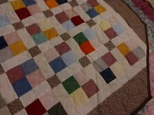 Handmade Quilt 4 Patch Machine Quilted, Queen/King, Multi-Color, Bedroom, Block