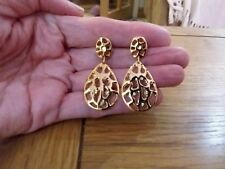 tiny clear crystals and gift box Brand new gold dangling earrings with