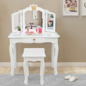 White Princess Kids Vanity Makeup Dressing Table Set Jewelry Drawer Child Girls