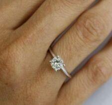 DIAMOND SOLITAIRE RING 1 CARAT D S1 ROUND EXCELLENT 18K WHITE GOLD SPARKY SZ 5-8