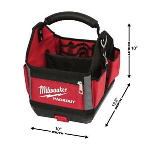 """Milwaukee PACKOUT Tote Bucket Tool Storage Impact Resistant 10"""" 28 Pockets Red"""