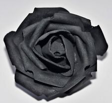 "SMALL 2.5"" Jet Black Foam Flower Hair Clip Wedding Bridesmaid Prom"