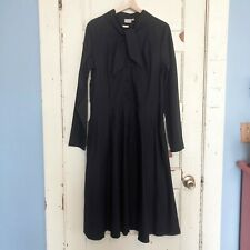 eShakti Popover Dress Size 16 XL Black Cotton Tie Neck Pockets Long Sleeve NWOT