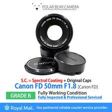 ⭐SERVICED⭐ CANON FD 50mm F1.8 S.C. SPECTRAL COATING + Original Caps [GRADE B]