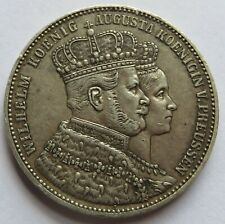 German Prussia 1861 Kroenungs Thaler Wilhelm Silver Commemorative Coin (192029G)