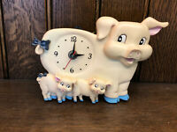 Vintage Farm Country Pig Piglets Hogs Wall Desk Clock Oinks - (Needs repaired)