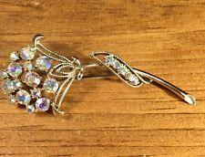 Vintage Aurora Borealis Rhinestone Flower Design Pin Brooch
