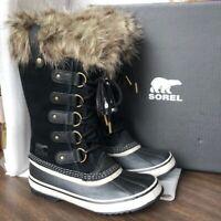 NIB Sorel Women's Joan of Arctic Waterproof Winter Boots Fur Black Stone PK SIZE