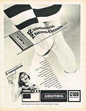 PUBLICITE ADVERTISING 104  1966  GRUNDIG   enregistreur à cassette  C 100