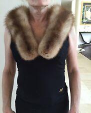 Lingerfelter Brill Real Fur Barguzin Russian Sable Wrap Scarf Boa Collar Beige