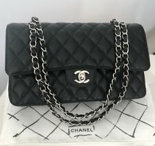 TIMELESS CLASSIC CHANEL QUILTED CAVIAR MEDIUM DOUBLE FLAP BAG SILVER HW