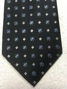 JOS A BANK MENS TIE BLACK WITH BLUE AND WHITE 3.5 X 59 NWT