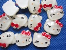 """40 Cute 7/8"""" Resin Hello Kitty Beads/Bow/Trims -Red"""