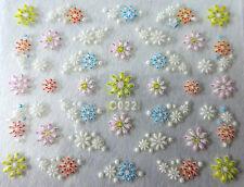 Nail art stickers bijoux d'ongles autocollants: Fleurs pâquerettes multicolores