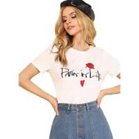Round Neck Short Sleeve Clothing For Women Letter And Flower Embroidered Designs