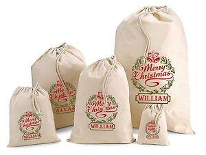Personalised Christmas Wreath Cotton Gift Bag Santa Sack  Various Sizes
