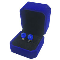 Sterling Silver Czech Blue Crystal Rhinestones Crystal Clay Ball Stud Earrings