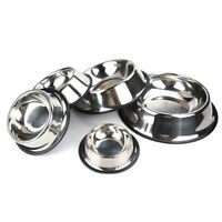 Non Slip Stainless Steel Cat Puppy Dog Pet Bowl Dish Water Food Feed Anti-Skid #
