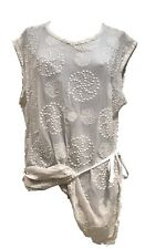 ANN DEMEULEMEESTER WHITE SILK LONG SEMI-SHEER TOP BLOUSE, 38, $1450