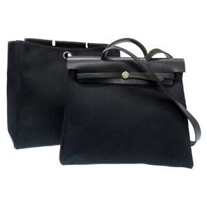 Auth HERMES Her Shoulder Hand Bag MM 2 in 1 Canvas Leather Black U1805ZPL5
