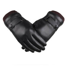 Winter Warm Leather Gloves Men Tactical Driving Touchscreen Mitten Fleece Lining