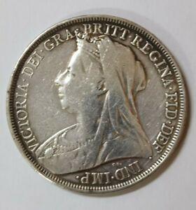 1896 Great Britain Victoria Crown 0.925 Silver Coin EF+ @ {KM#783}