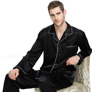 Mens Silk Satin Pajamas Set PJS Set Long Sleeves Top+Bottom Nightwear Loungewear