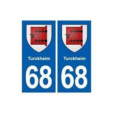 68 Turckheim blason autocollant plaque stickers ville arrondis