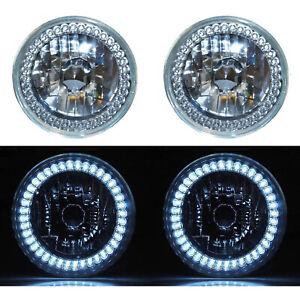 "7"" Halogen White LED Ring Halo Angel Eyes Headlight Headlamp Light Bulbs Pair"