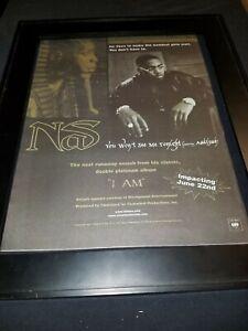 Nas You Won't See Me Tonight Rare Original Radio Promo Poster Ad Framed!