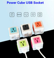 Power Cube Socket Universal 4 Outlets 2 USB Ports Power Strip Extension Adapter