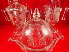 Vintage Glass Serving Set - Butter/Cheese Dish, Sugar, Creamer, Tray