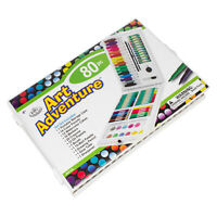 Large Art Set 80 pc Childrens Drawing Painting Colour Pencils Wallet Pack Gift