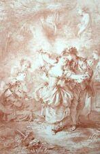Musique et Danse Romantisme - Rococo Francois Boucher Lithographie XIXe