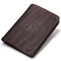 Men's Genuine Rustic Leather Wallet Short Bifold Card Holder Front Pocket Purse