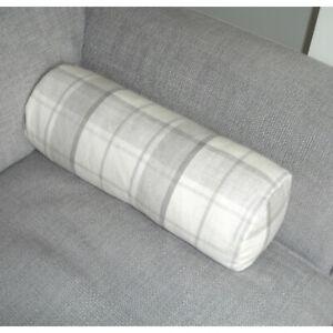 Highland Check Bolster Cover Grey Laura Ashley Round Cylinder Cushion 6x16 Dove