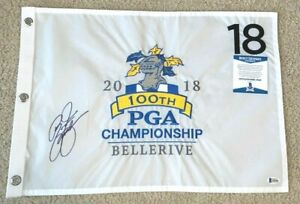 RICKIE FOWLER SIGNED 2018 100TH PGA CHAMPIONSHIP FLAG BELLERIVE 2021 MASTERS BAS