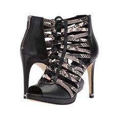 Nib-Michael Kors Clarissa Platform Leather Cage Sandal Shoes Black/Snake Sz. 7.5