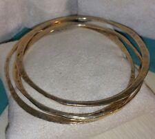 Set Lot 3 Veronese 18k Yellow Gold Sterling silver Bangle bracelet hammered flat