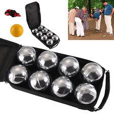 8 French Ball Steel Boules Set Garden Beach Park Game+Case+1 Wooden Jack+String