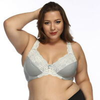 Women's Full Coverage Underwire Non Padded Lace Sheer Minimizer Bra DDD F FF G H