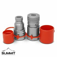 """Flat Face Hydraulic Quick Connect Coupler Set, 1/2″ SAE, 3/4""""-16 ORB Thread"""