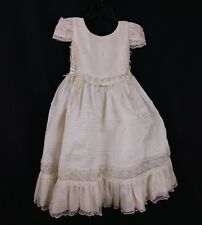 Vintage Toddler Dress Victorian Style Off White Lace Rhinestones Formal Cosplay