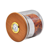 1 X Bamboo Lid Hygrometer Humidifier Airtight Seal Smell Proof Glass Stash Jar
