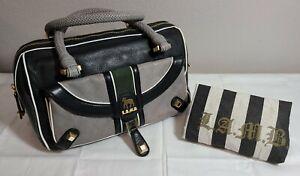 L.A.M.B. Black Leather Satchel Purse Aston Fia Handbag Gwen Stefani Fall 2008