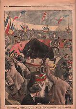 Arènes Corrida Toros Taureaux banderilleros matador Paris  1899 ILLUSTRATION